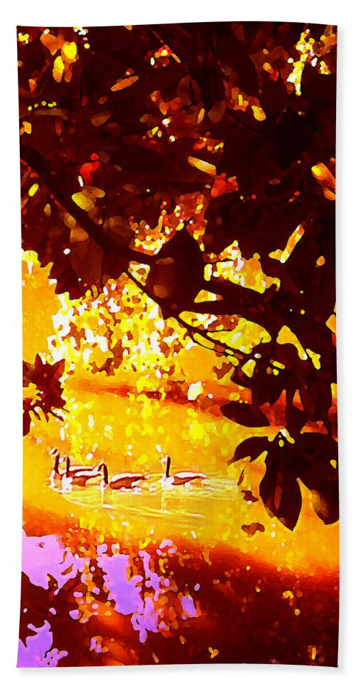 Landscapes Hand Towel featuring the painting Ducks In The Disitance by Amy Vangsgard