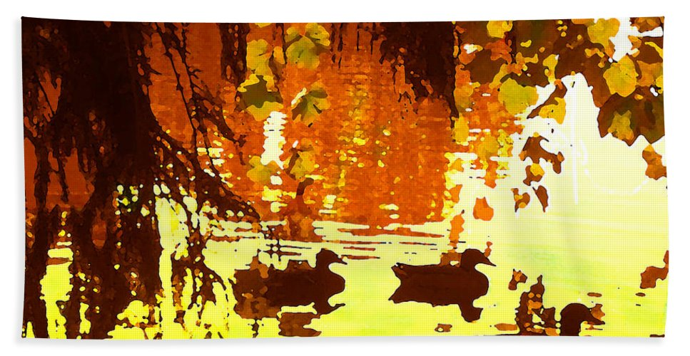 Bath Towel featuring the painting Ducks On Red Lake by Amy Vangsgard