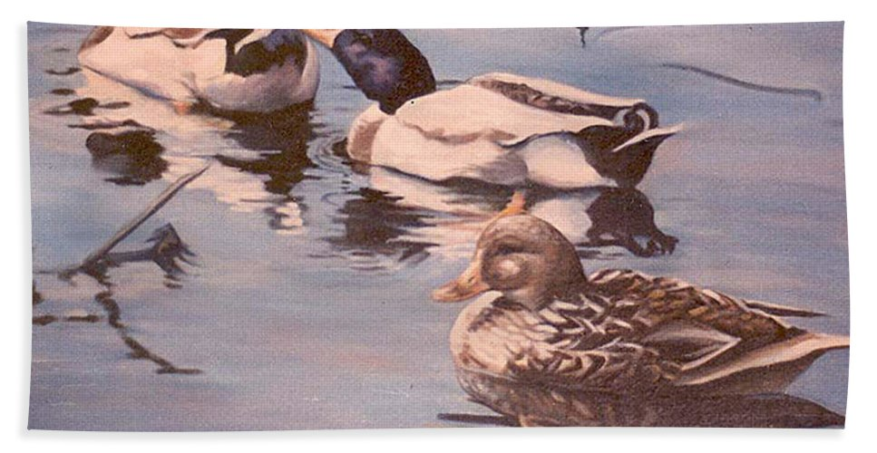Nature Bath Sheet featuring the painting Ducks On The Cachuma by Donna Tucker