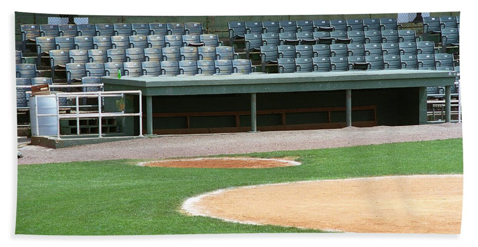 Aisles Hand Towel featuring the photograph Dugout At The Old Ballpark by Frank Romeo
