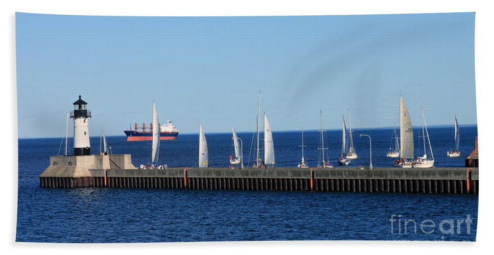 Duluth Bath Sheet featuring the photograph Duluth Mn Harbor by Lori Tordsen