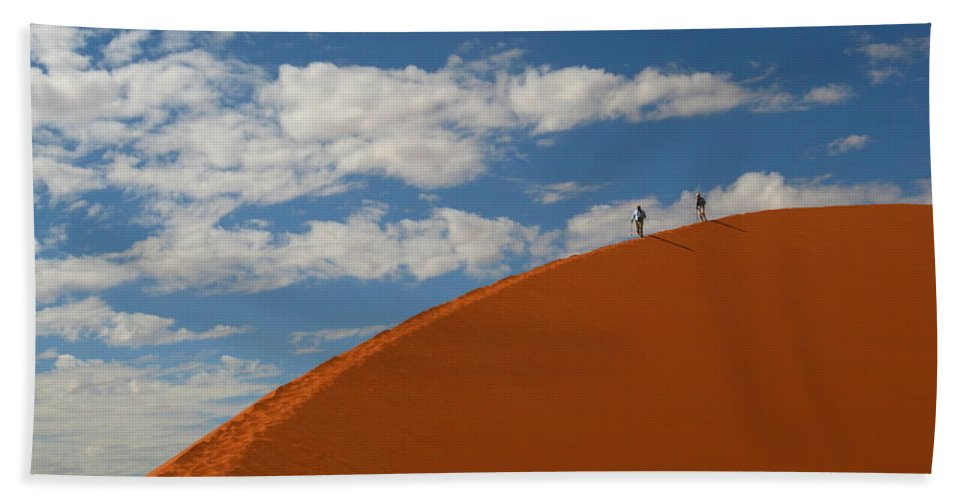 Dune Bath Sheet featuring the photograph Dune Walkers by Bruce J Robinson