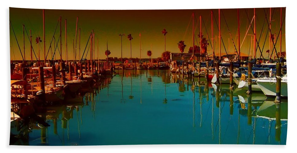 Florida Bath Sheet featuring the photograph Dunedin Marina by Bill Cannon