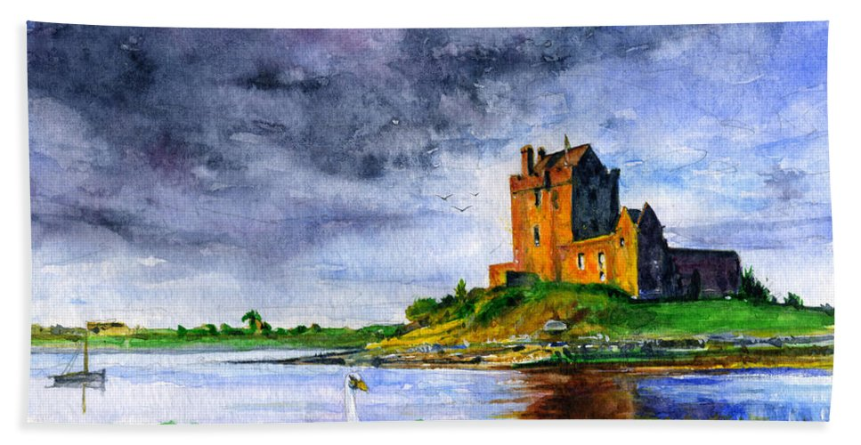 Dunguaire Bath Sheet featuring the painting Dunguaire Castle Ireland by John D Benson
