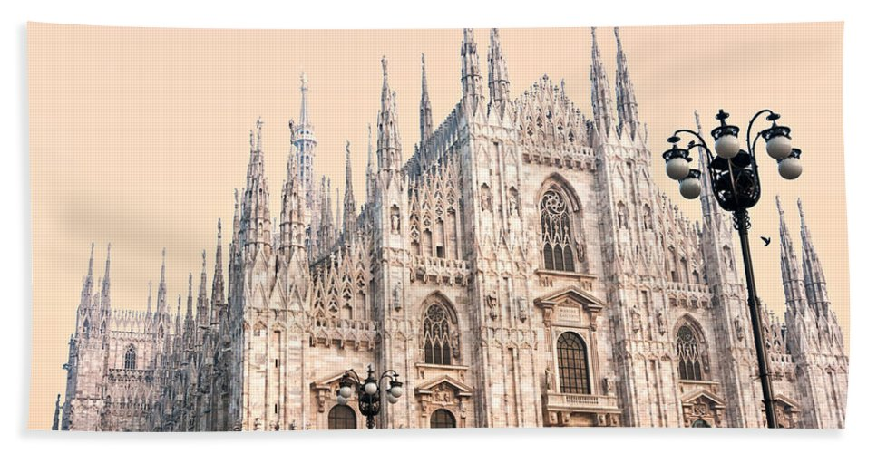 Ancient Hand Towel featuring the photograph Duomo Of Milan by Luciano Mortula