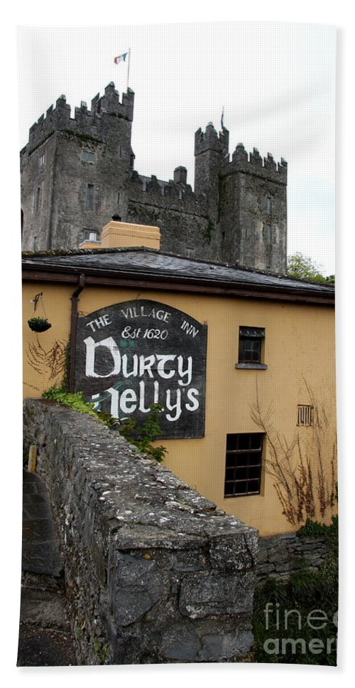 Pub Bath Sheet featuring the photograph Durty Nellys And Bunraty Castle by Christiane Schulze Art And Photography