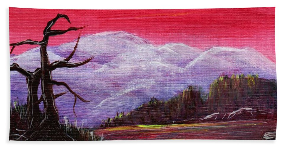 Interior Hand Towel featuring the painting Dusk by Anastasiya Malakhova