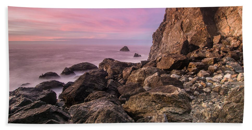 Seastacks Hand Towel featuring the photograph Dusk Falls Over Patrick's Point by Greg Nyquist