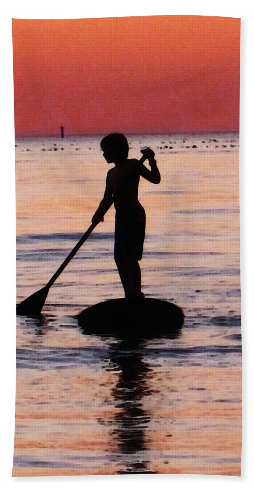 Silhouette Hand Towel featuring the painting Dusk Float - Sunset Art by Sharon Cummings