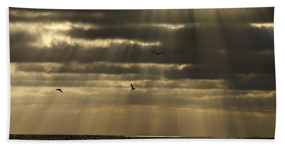 Sunset Bath Sheet featuring the photograph Dusk On Pacific by Joe Schofield