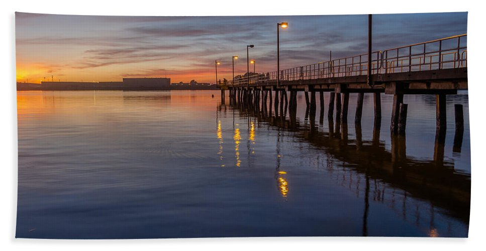 Humboldt Bay Hand Towel featuring the photograph Dusk Settles On Del Norte Pier by Greg Nyquist