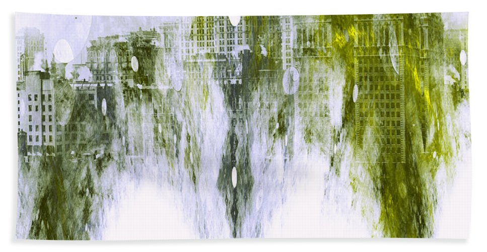 Hebrews 13 14 City Enduring Bible Verse Melting Cityscape Abstract Expressionism Impressionism Painting New York Nyc Christian Bath Sheet featuring the painting Dust To Dust by Steve K