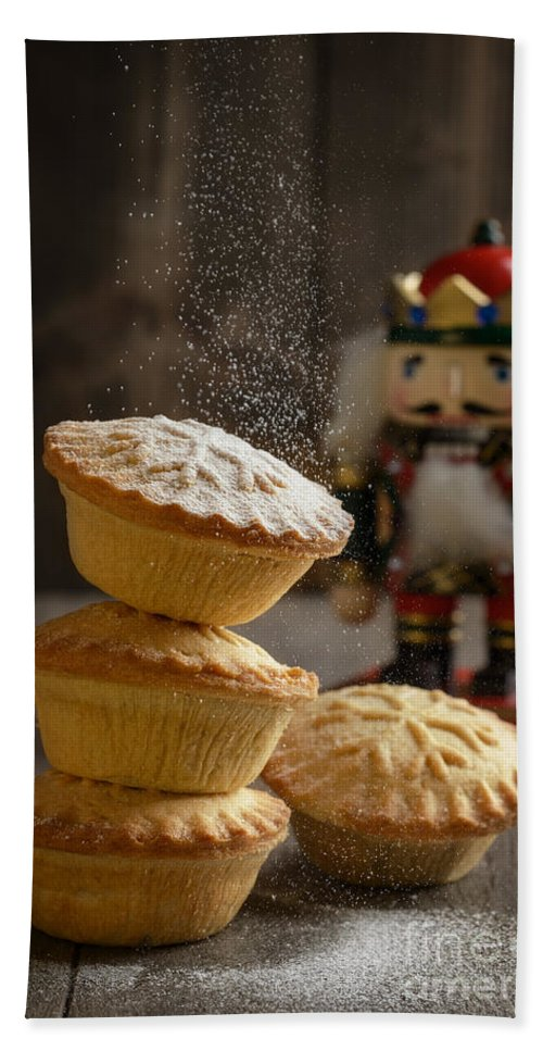 Mince Bath Sheet featuring the photograph Dusting Mince Pies by Amanda Elwell