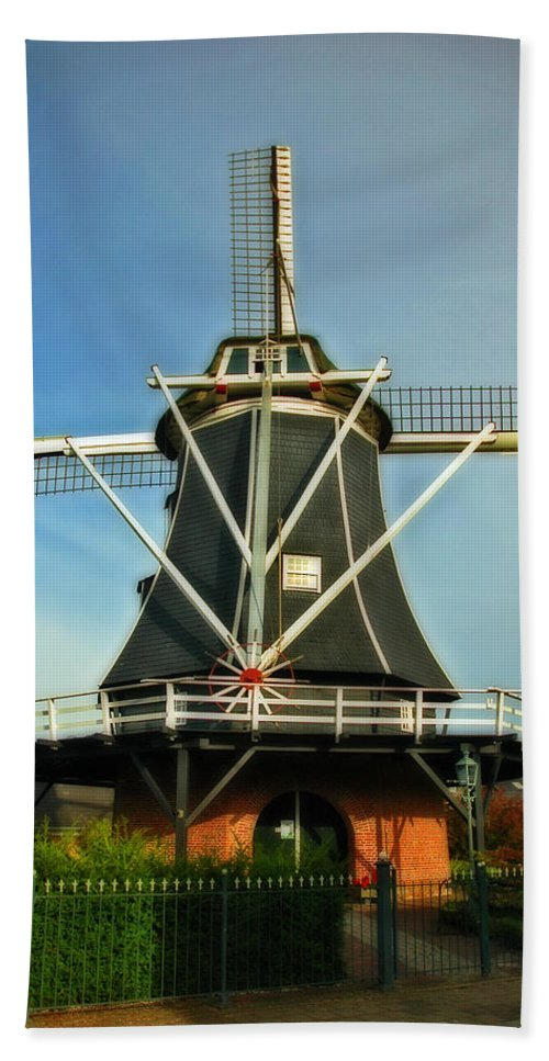Dutch Windmill Hand Towel featuring the photograph Dutch Windmill by Ginger Wakem
