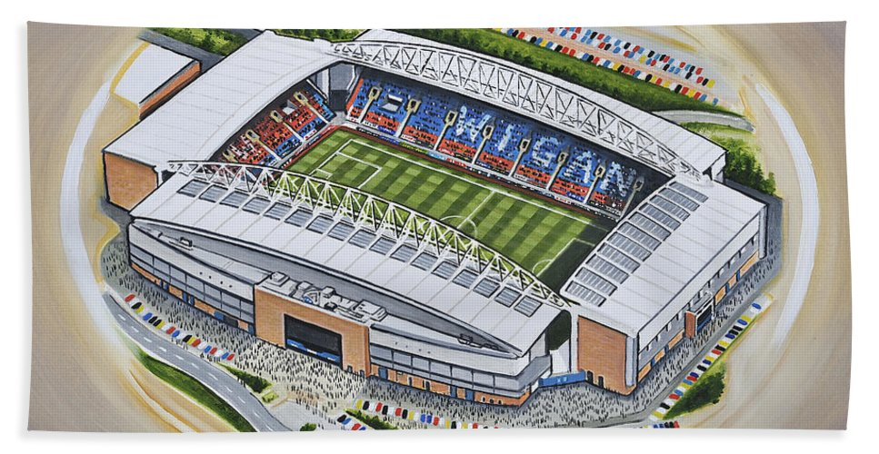 Art Bath Sheet featuring the painting Dw Stadium - Wigan Athletic by D J Rogers