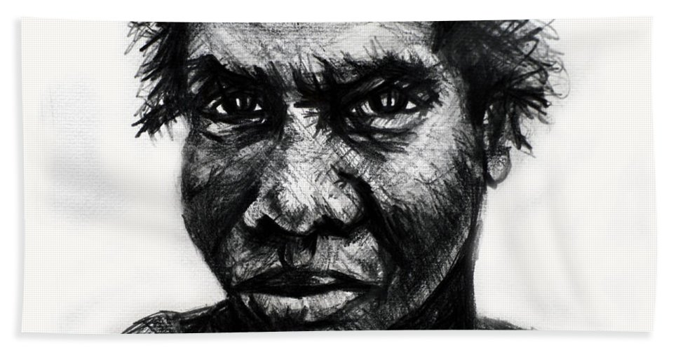 Aborigine Bath Sheet featuring the drawing Dyinurugang by Paul Sutcliffe
