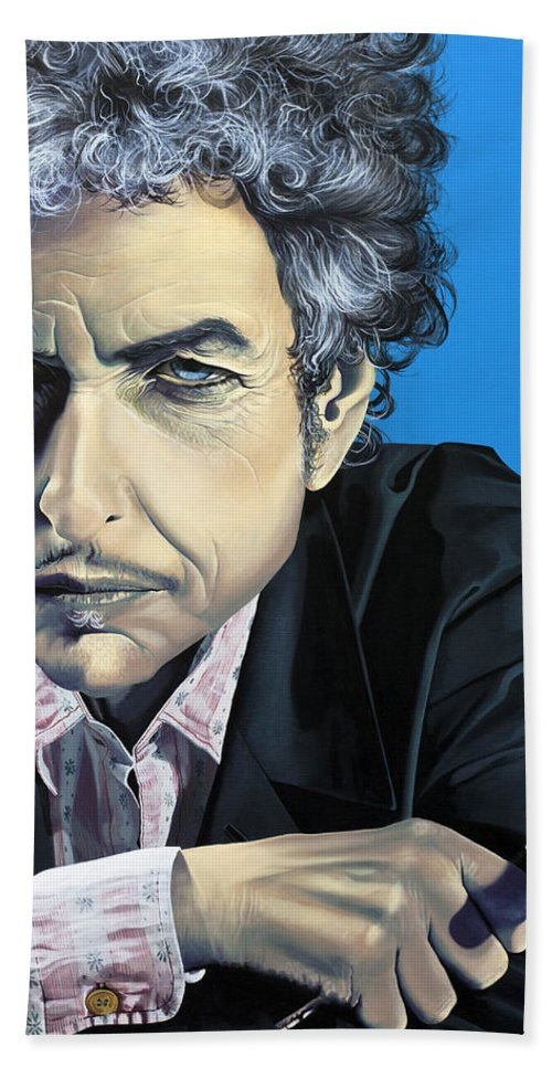 Bob Dylan Hand Towel featuring the painting Dylan by Kelly Jade King