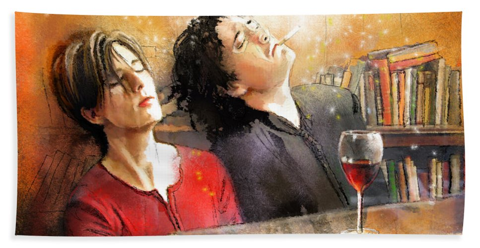 Portraits Bath Sheet featuring the painting Dylan Moran And Tamsin Greig In Black Books by Miki De Goodaboom