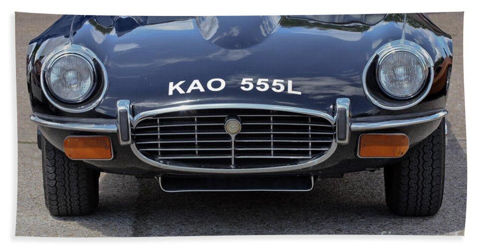 Jaguar Bath Sheet featuring the photograph E Type Jaguar V12 by Terri Waters