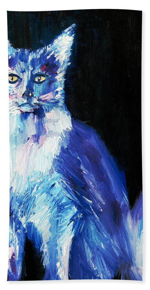 Cat Hand Towel featuring the painting Each Act Was A Perfection And A Joy by Fabrizio Cassetta