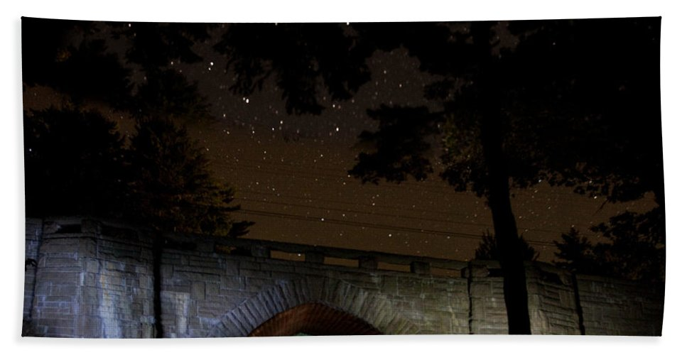 Night Bath Sheet featuring the photograph Eagle Lake Bridge 6745 by Brent L Ander