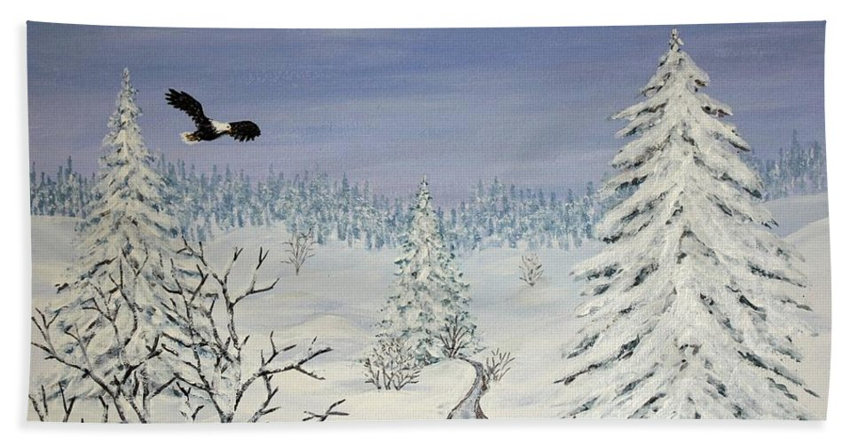 Flying Eagle Acrylic Painting Hand Towel featuring the painting Eagle On Winter Lanscape by Georgeta Blanaru