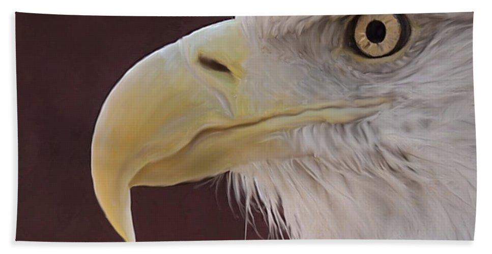 Birds Bath Sheet featuring the digital art Eagle Portrait Freehand by Ernie Echols