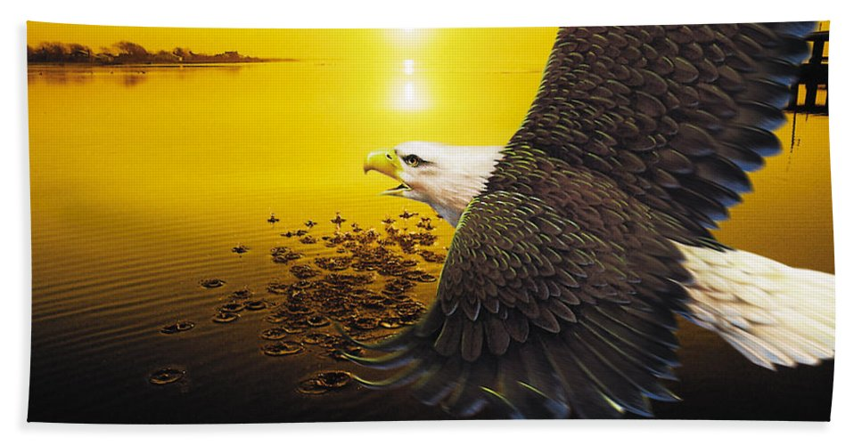 Eagle Sunset Hand Towel featuring the photograph Eagle Sunset by Joseph LaPlaca
