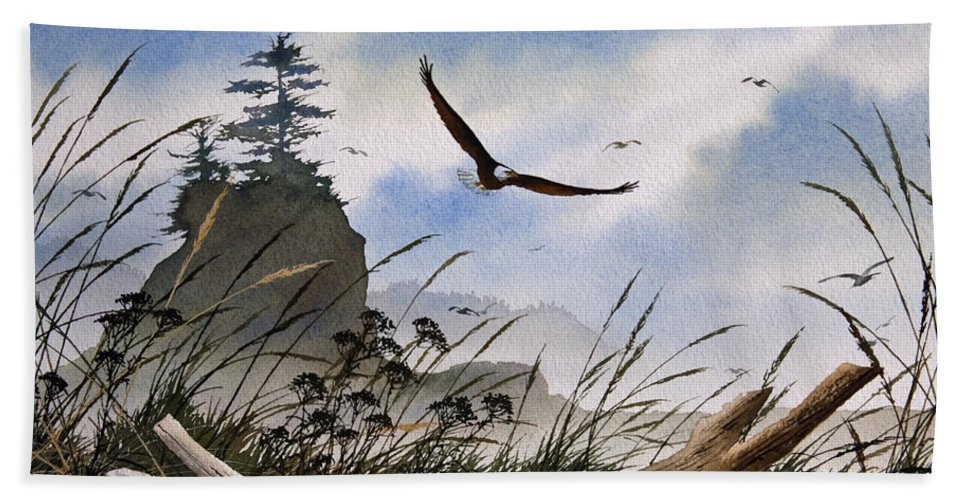 Eagle Fine Art Print Bath Sheet featuring the painting Eagles Home by James Williamson