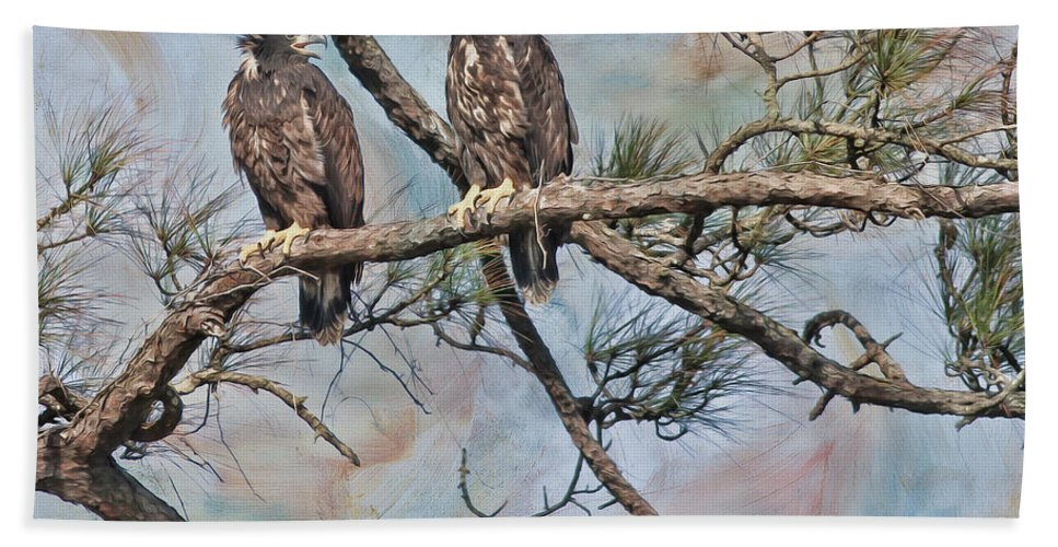Eagles Hand Towel featuring the photograph Eaglets In Oil by Deborah Benoit
