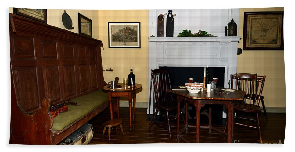 Vintage American Furniture Hand Towel featuring the photograph Early American Dining Room by Terri Winkler