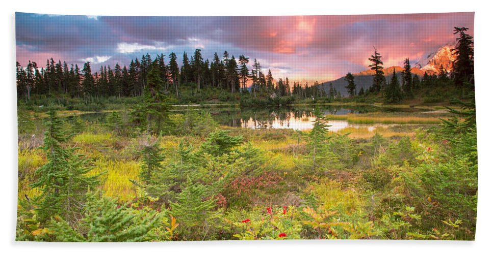 Sunset Bath Sheet featuring the photograph Early Autumn Meadow Sunset At Mt Baker by Eti Reid