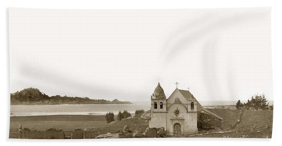 Carmel Bath Towel featuring the photograph Early Carmel Mission And Point Lobos California Circa 1884 by California Views Archives Mr Pat Hathaway Archives