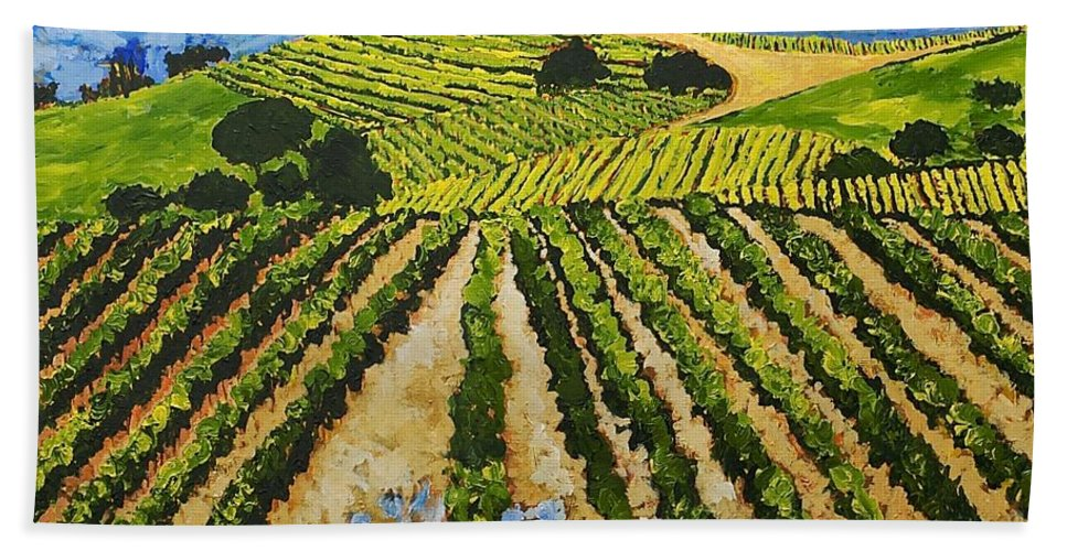 Landscape Bath Towel featuring the painting Early Crop by Allan P Friedlander