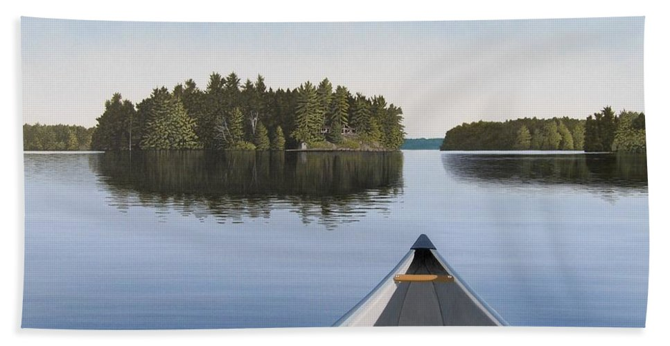 Canoe Hand Towel featuring the painting Early Evening Paddle aka Paddle Muskoka by Kenneth M Kirsch
