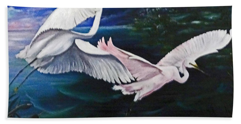 Snowy Egrets Bath Sheet featuring the painting Early Flight by Karin Dawn Kelshall- Best