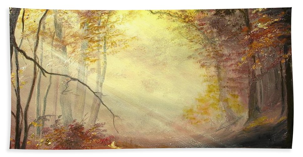 Autumn Hand Towel featuring the painting Early In The Morning by Sorin Apostolescu