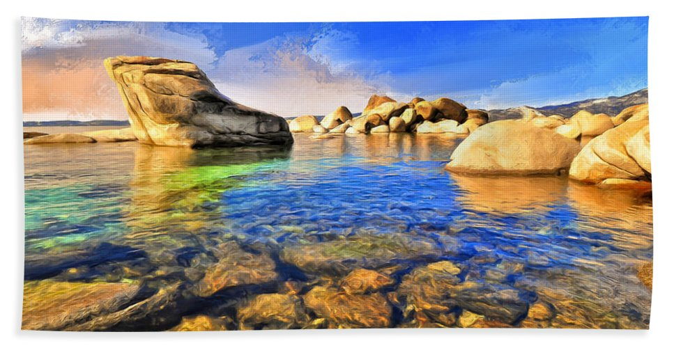 Early Morning Bath Sheet featuring the painting Early Morning At Lake Tahoe by Dominic Piperata
