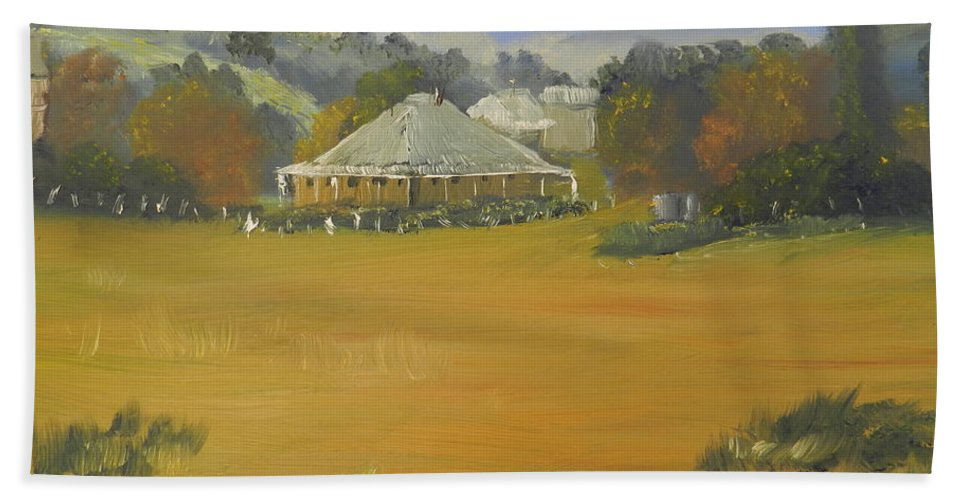 Impressionism Bath Sheet featuring the painting Early Morning At Sofala by Pamela Meredith
