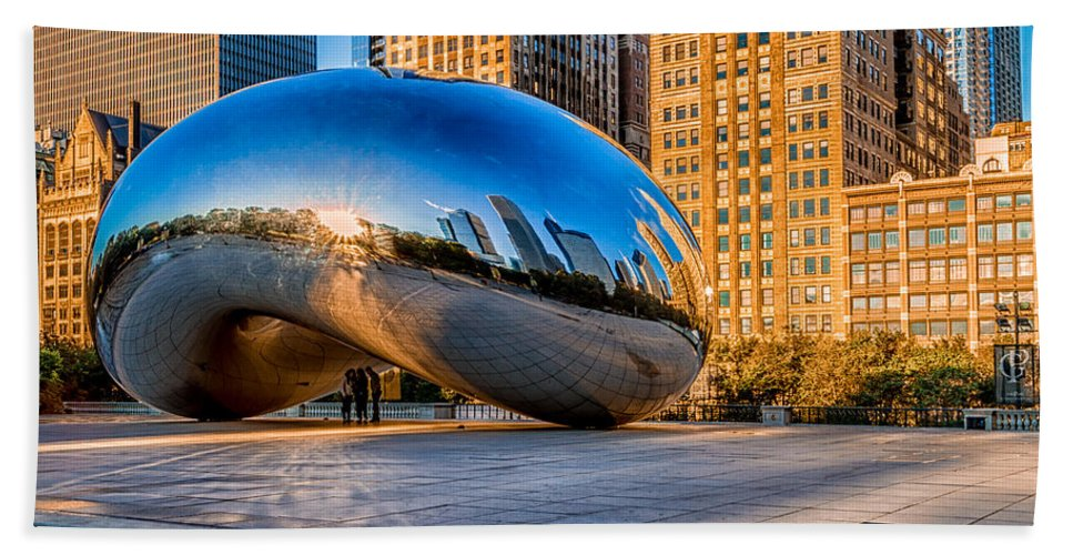 Bean Hand Towel featuring the photograph Early Morning Bean In Chicago by Lindley Johnson