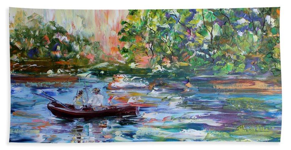 Fishing Bath Sheet featuring the painting Early Morning Fishing by Karen Tarlton