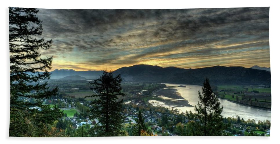 Mission Bc Bath Sheet featuring the photograph Early Morning From The Abby by Rod Wiens