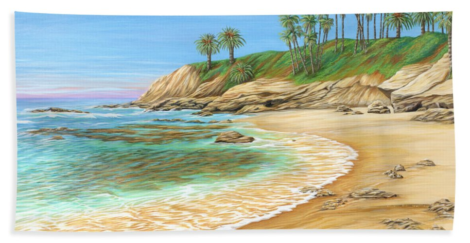 Beach Bath Towel featuring the painting Early Morning Laguna by Jane Girardot