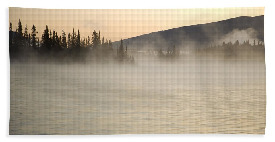 Americas Bath Sheet featuring the photograph Early Morning Mist On Boya Lake by Roderick Bley