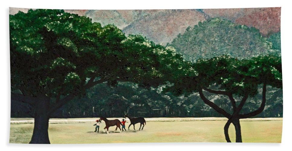 Trees Bath Sheet featuring the painting Early Morning Savannah by Karin Dawn Kelshall- Best