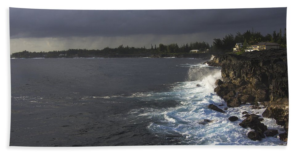 Hawaii Bath Sheet featuring the photograph Early Morning Waves by Mike Herdering