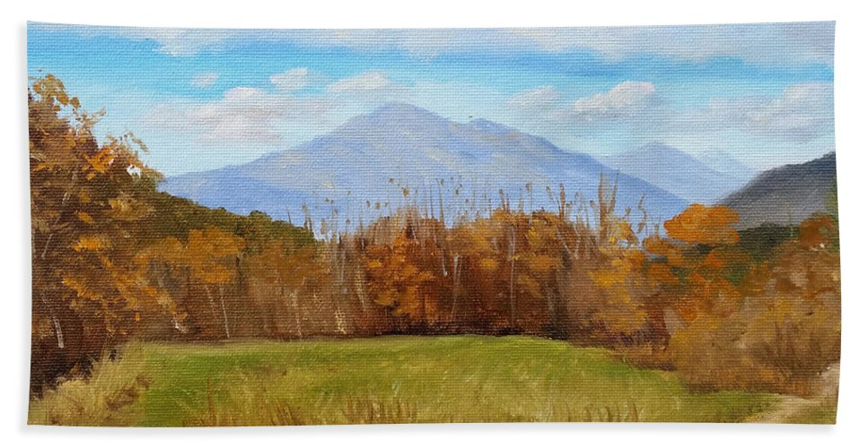 Mountains Bath Sheet featuring the painting Early November At First Bridge by Sharon E Allen