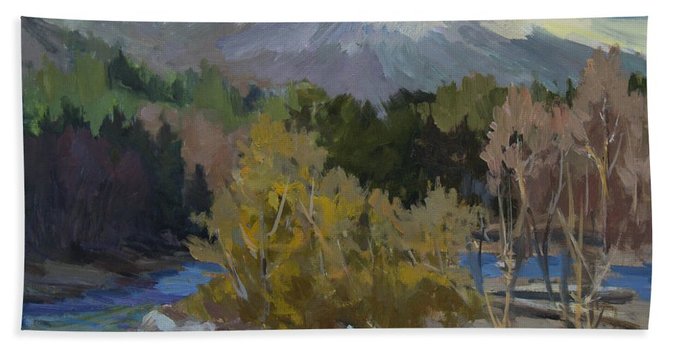 Early Snow Hand Towel featuring the painting Early Snow Cascade Mountains by Diane McClary