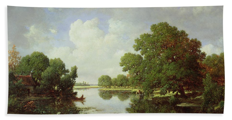 Early Summer Afternoon Hand Towel featuring the painting Early Summer Afternoon by Pierre Etienne Theodore Rousseau