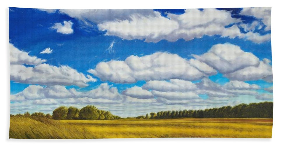 Wheat Hand Towel featuring the painting Early Summer Clouds by Leonard Heid